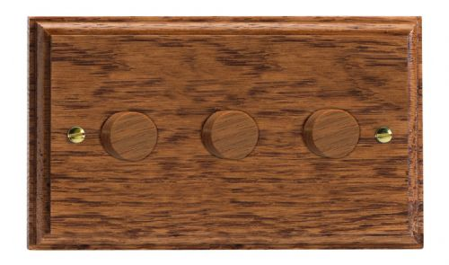 Varilight HK43MO Kilnwood Medium Oak 3 Gang 2-Way Push On/Off Dimmer 40-250W V-Dim